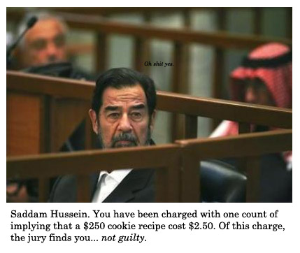 saddam not guilty